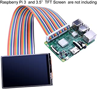 """kuman Breadboard Jumper Wires 40pin Male to Female Ribbon GPIO Cable for Connection Raspberry Pi 4B 3 2 Model B B+ w/ 3.5"""" 5 inch Touch TFT Screen LCD Display K70"""