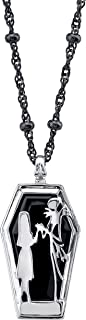 ROCKLOVE Disney Tim Burton's The Nightmare Before Christmas Sterling Silver Jack and Sally Coffin Pendant Necklace, 20