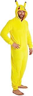 Pijama Hombre Entero de Una Pieza, Pijama Hombre Invierno Pikachu Capucha 3D, Pijama Mono Forro Polar, Regalos para Hombres y Adolescentes Talla S - 2XL