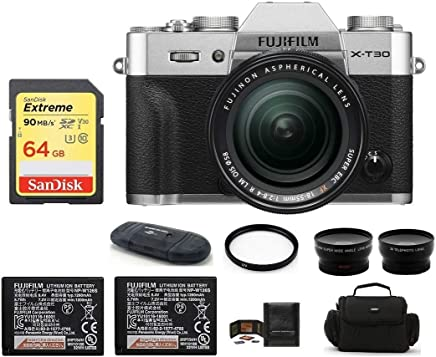 $1349 » Fujifilm X-T30 Mirrorless Digital Camera with XF 18-55mm f/2.8-4 R LM OIS Zoom (Silver) Bundle, Includes: 64GB Extreme Memory Card, Spare NP-W126S Battery + Telephoto & Wide Angle Lenses + More