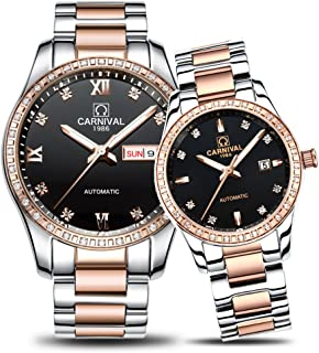CARNIVAL Couple Watches Men and Women Automatic Mechanical Watch Fashion Chic for Her or His Set of 2