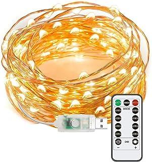 Aneagle Ljusslingor, 8 lägen USB-kontakt i ljusslingor, utomhus jul trädgårdsbelysning, koppartråd älva lampor med fjärrti...