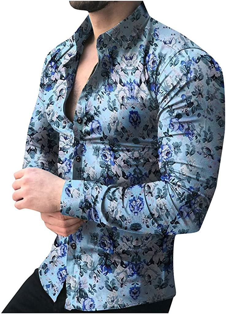 VEKDONE Men's Floral Dress Shirts Slim Fit Casual Paisley Printed Shirt Cotton Button Down Shirts Plus Size