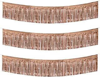 TONIFUL Rose Gold Foil Fringe Banner Long Metallic Tassel Garland 10 Feet Shiny Hanging Decorations for Wedding Birthday Home Décor 3 Pack