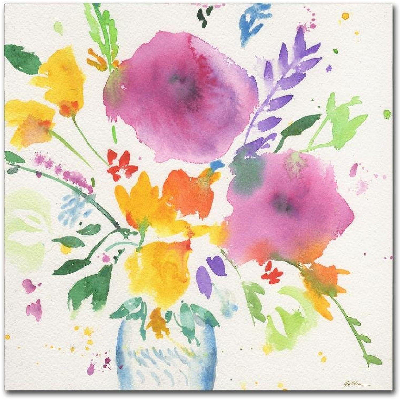 Trademark Fine Art Bright Bouquet 3 by Sheila gold Ornate Frameen, Canvas Wall Art 14x14