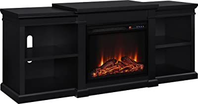 """Ameriwood Home Manchester Electric Fireplace TV Stand for TVs up to 70"""", Black"""