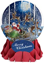 3D Pop Up Moonlight Sleigh Medium Snowglobe Christmas Card