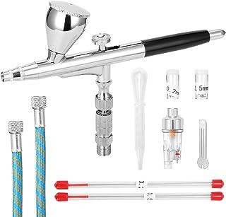 KKmoon Luftbrush set med 2 nålar och 2 munstycken G1/8 snabbadapter skiftnyckel slang oljevattenavskiljare droppare