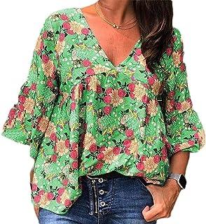 MK988 Womens Floral Print T-Shirt Fashion Half Sleeve V Neck Plus Size Blouse Top T-Shirt
