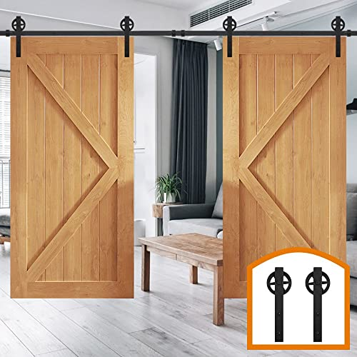ZEKOO 10 FT Rustic Sliding Wood Barn Door Hardware Rolling Antique Wheel  Flat Tracks Double Doors - Barn Doors For Sale: Amazon.com