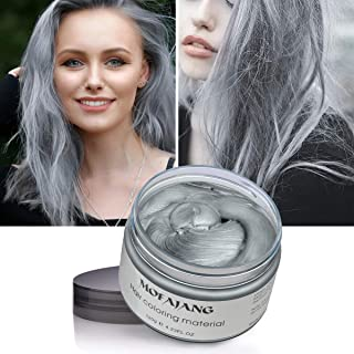 Hair Color Wax Silver Gray Hair Wax 4.23 oz Temporary Hair Dye Natural Hairstyle Pomade Cream Unisex Wax for Men and Women(Grey)