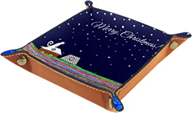 Yitian Leather Tray PU Leather Jewelry Catchall Christmas Cats Houses Stars Moon for Change Jewelry Key Phone Watches Dice So