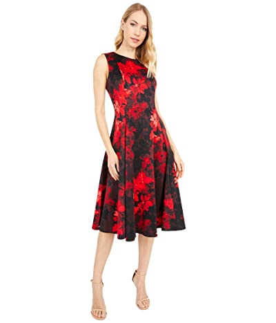 Calvin Klein Floral Print A-Line Dress (Red Multi) Women