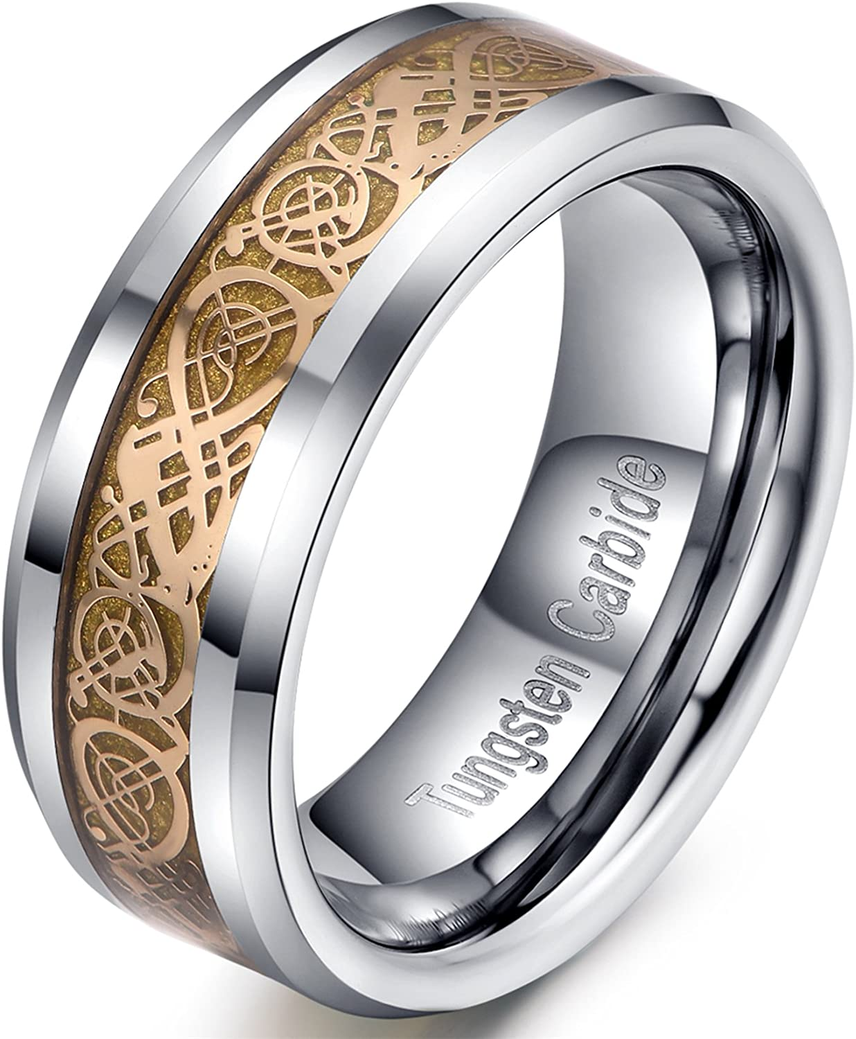 8mm Sales results No. 1 Gold Tungsten Ring supreme Wedding Celtic Concaved Kn with Band