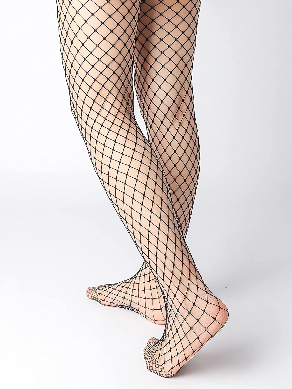 Milumia Women's 3 Pairs Fishnet Tights Mesh Pantyhose High Waisted Seamless Stockings