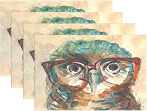 YATELI Placemats Big Eyes in Hipster Glasses Animal Wise Owl 12x18 inch Heat Resistant Set of 6 Non Slip for Dinning Kitchen