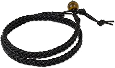 NOVICA Tiger's Eye Black Braided Leather Men's Wrap Bracelet, 16.5