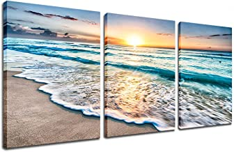 Beach Canvas Sunset Wall Art - Ocean Wave Wall Decor Sand White Beach 3 Piece Seascape Prints and Posters Modern Kitchen B...