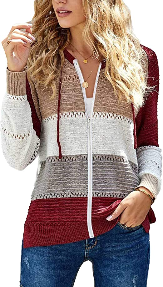 iChunhua Womens Hoodies Striped Hollow Out Knit Pullover Jumper with Drawstring