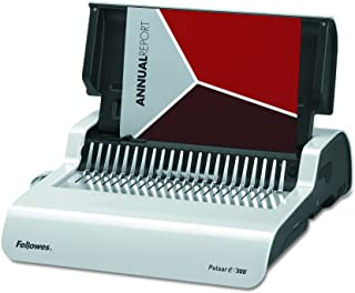 Fellowes 5216701 Pulsar Electric Comb Binding System, 300 Sheets, 17 x 15 3/8 x 5 1/8, White,Grey