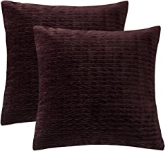 PHF Velvet Solid Throw Pillow Cover for Winter Pack of 2 Square Decor Wrinkled 18