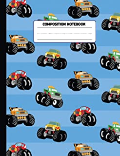 Composition Notebook: Monster Truck Handwriting Paper Journal, Primary School Grades K-2, 7.44 x 9.69 inches, 110 pages