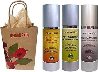 [REinONSkin] The Luxurious Organic REINON SKIN Photo -Age Rewinder Skincare Gift Set includes Eye Watcher Cell Secure Eye Serum ($79/50ml), High Potency PHOTO-AGE Rewinder ($92/50ml) and Wrinkle Watcher Antioxidant Treat 4X ($86/50ml) Paraben Free! Fresh Bottle! Free Gift Card, Wrap.