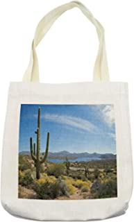Ambesonne Saguaro Tote Bag, Big Cactus on the Valley over Bartlett Lake in Desert Shallow Root Nature Image, Cloth Linen Reusable Bag for Shopping Books Beach and More, 16.5