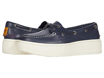Sperry A/O Platform Leather (Navy) Women