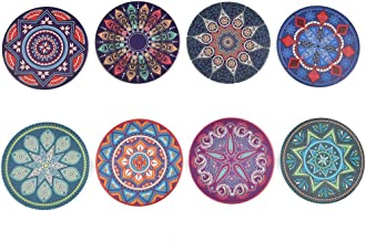 YOTINO 8 stuks drinkonderzetters ronde onderzetters set met houder   absorberende steen mandala keramische onderzetters be...