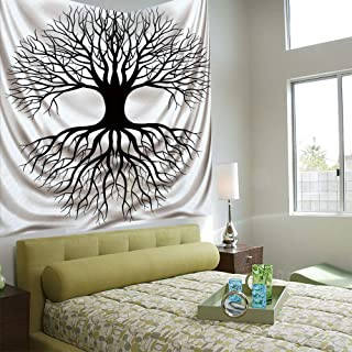AngelSept Wall Tapestry Decorative Art Prints can be Hung on The Bedside of Dormitory,Tree of Life,Plant Silhouette Roots and Branches Reflection Shadow Monochrome Illustration,Black White