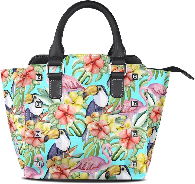 My Little Nest Women's Top Handle Satchel Handbag Summer Tropical Flowers Toucans Flamingo Ladies PU Leather Shoulder Bag Crossbody Bag