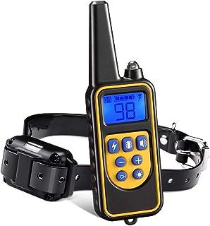 HWZQHJY Dog Training Collar, Dog Shock Collar with Remote Range with Beep Vibra Shock LED Light Waterproof Electric Dog Ba...