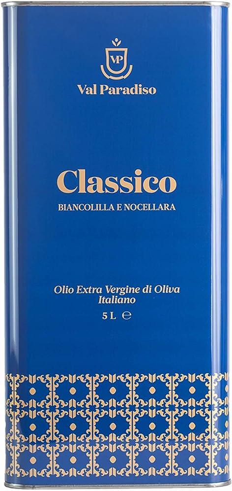 Val paradiso olio extravergine di oliva italiano classico,olive siciliane,100% italiano,spremuto a freddo, 5 l