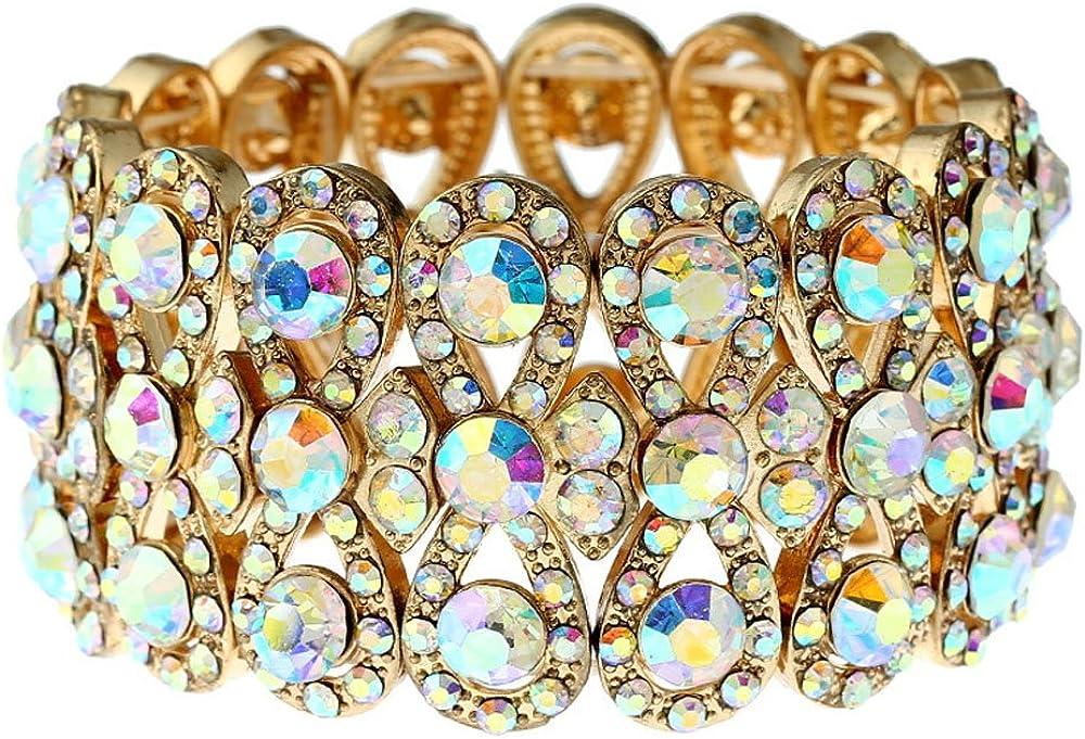 CrazyPiercing Stretch Bracelet Bridal Rhinestone Bangles Statement Wedding Bracelet Jewelry for Women