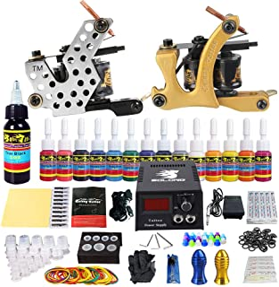 Solong Tattoo Complete Starter Beginner Tattoo Kit 2 Pro Machine Guns 14 Inks Power Supply Foot Pedal Grips Tips TK212