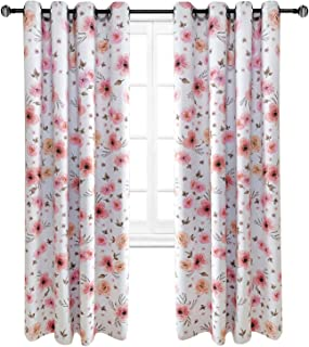 Riyidecor Blackout Floral Curtains Flowers Blush Pink Shabby Chic Country Rustic Watercolor Window Treatment for Living Room Bedroom Window Drapes Fabric (2 Panels 52 x 84 Inch)