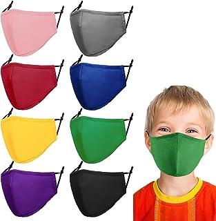 ماسک صورت بچه ها ماسک صورت بچه ها ماسک صورت پارچه ای پنبه ایمنی قابل تنظیم برای بچه های پسر بچه دختر بچه ها 8 عدد