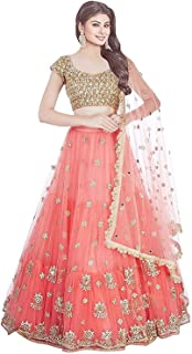 e9c342fb7b Dee Fashion Women's Embroidery Colour Orange Semi Stitched Lehenga Choli  (Semi Stitched_Free Size)