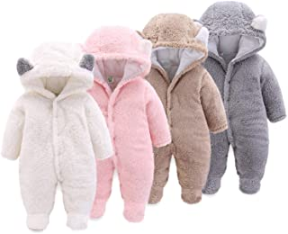 Onancehim Newborn Baby Cartoon Bear Toddler Snowsuit,Fleece Cute Gender Neutral Baby Winter Clothes