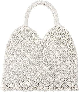 Ayliss Handmade Straw Bag Travel Beach Fishing Net Handbag Shopping Woven Shoulder Bag for Women/Girls