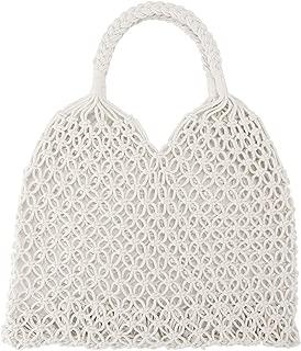 Ayliss Handmade Straw Bag Travel Beach Fishing Net Handbag Shopping Woven Shoulder Bag for Women