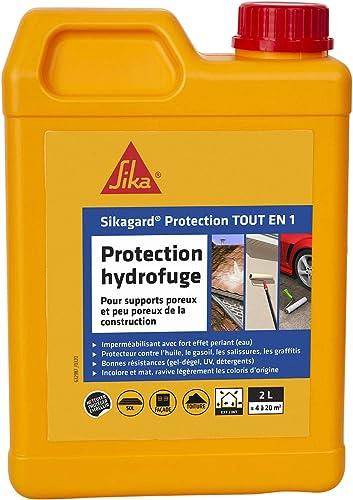 Sikagard Protection Tout en 1, Protection hydrofuge façade, mur, toiture et sol pour matériaux poreux et peu poreux i...