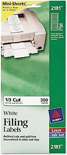 Avery 2181 File Folder Labels on Mini Sheets, 2/3 x 3 7/16, White, 300/Pack