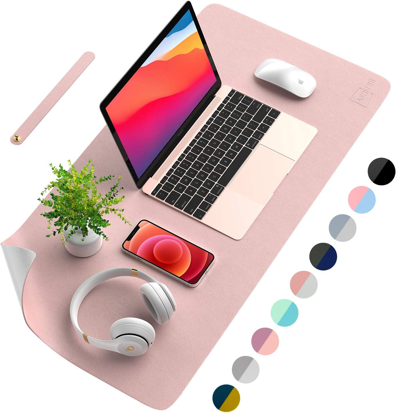 AFRITEE Desk Pad Desk Protector Mat - Dual Side PU Leather Desk Mat Large Mouse Pad, Writing Mat Waterproof Desk Cover Organizers Office Home Table Gaming Decor (Rose Pink/Silver, 23.6