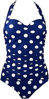 dextrad athletic-two-piece-swimsuits Retro Vintage Floral Print White Polka One Piece Swimwear Monokinis