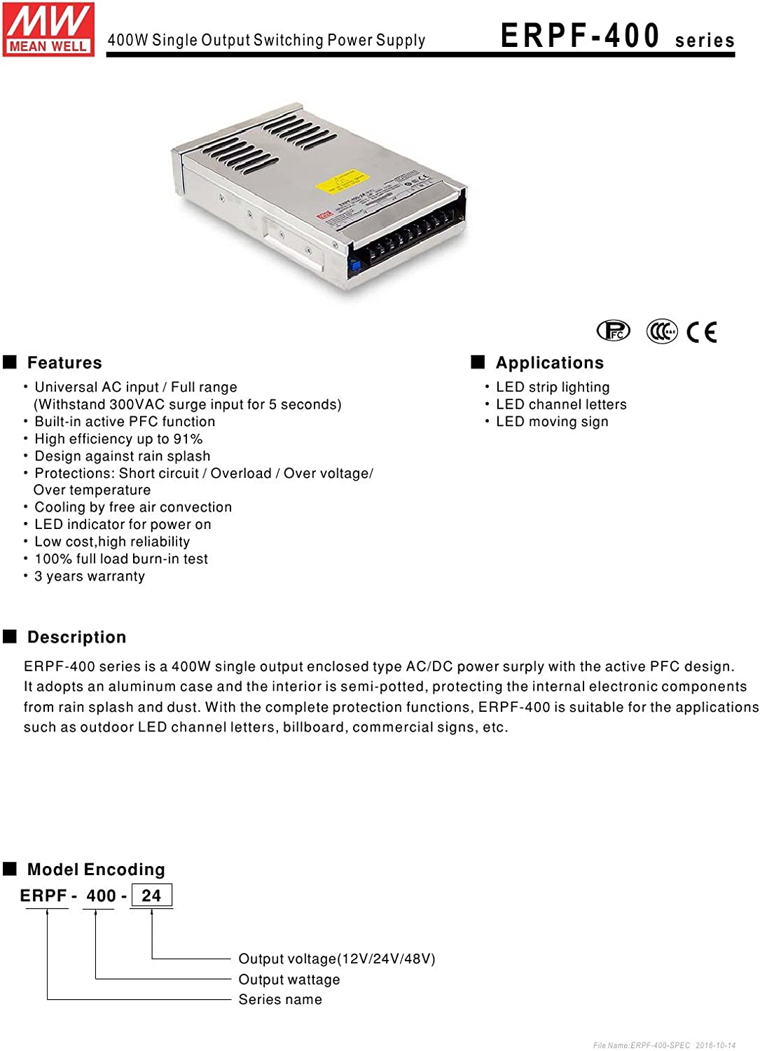 Mean Well ERPF-400-12 400W Single Output Switching Power Supply Mean Well ERPF-400