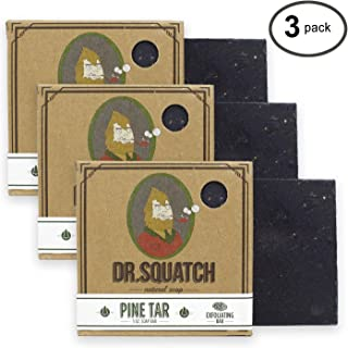 Dr. Squatch Pine Tar Soap 3-pack Bundle – Mens Bar with Natural Woodsy Scent and Skin Exfoliating Scrub – Handmade with Pine, Coconut, Olive Organic Oils in USA (3 Bar Set)