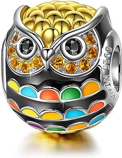 NINAQUEEN® Charms Abalorios - Búho Pájaro de Sabiduría Plata de Ley 925 Esmalte, Regalos Mujer, Regalo para Ella, Regalo d...
