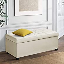 Artiss Leather Storage Ottoman Bench Rectangle Footstool Coffee Table, Cream White